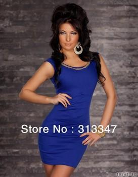 S M XL XXL Plus Size Red Black Blue 3 Colors Fashion Sexy Slim Dress Women Night Party Wear Mini Dress Sexy Club Wear  M82