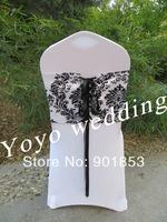 black and white flocking taffeta chair cover sash also call elegance damask corset chair sash,double side satin ribbon