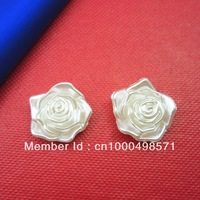 Free Shipping!  200pcs/bag 18mm  pearl white imitation flat back flower pearls