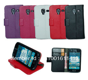 PU Wallet case for Samsung Galaxy Ace 2 i8160 , Galaxy i8160 Wallet stand cover ,5 color,Hong Kong Airlines free shipping