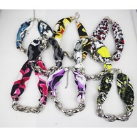 woman punk winter/spring/autumn/summer colorful cloth chunky fabic chain choker necklace,mixed colors ,direct factory supply