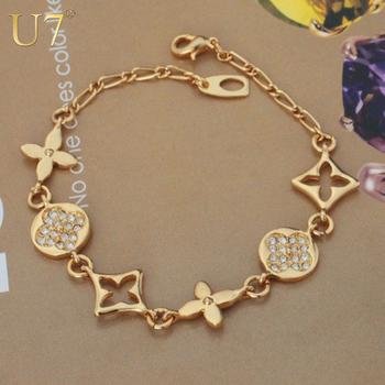 European Design 2 Colors Platinum/18K Real Gold Plated Rhinestone Fancy Star Chain & Link Trendy Brand Bracelets For Women H512