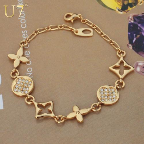 Hot Sale European Brand Bracelet Jewelry New Trendy 18K Real Gold Plated Rhinestone Fancy Chain & Link Bracelets For Women H512(China (Mainland))