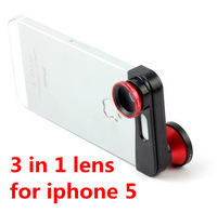 180 degree Fisheye Wide Angle Macro 3 in 1 lens camera for iphone5 iPhone 5,retail box,Valentine&#39;s gift,DHL shipping 20pcs