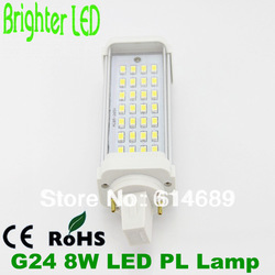 Free Shipping Hotsale G24 LED PL Lamp 2 Pin 8W 28SMD 5630 Bulb AC85-265V(China (Mainland))