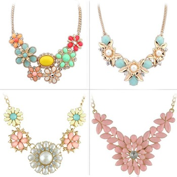 Hot 2014 New Resin Bib Necklaces Candy Color Necklaces & Pendants for Women Jewelry (Mix minimum order is 10USD)