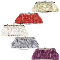 Crystals kiss lock satin evening bag wedding prom bridal clutch lady handbag 11002#