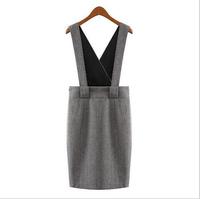 NALULA 2014 women's wool one-piece dress slim spaghetti strap tank dress women winter dress NV2604