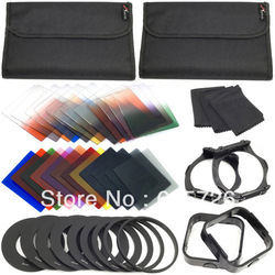 42 in1 24Color Filter +4 Cases+9 ring Adapter+2 holder+Wide-Angle Holder+lens hood for Cokin P +free shipping +tracking number(China (Mainland))