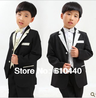2012 autumn winter 6 pcs male children's clothing size 2 4 6 8 10 12 14 fashion casual suit triangle set formal dress child set