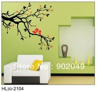50x70cm Hot sale Plum blossom PVC red and black color TV backgound wall stickers KW- HL3d-2104