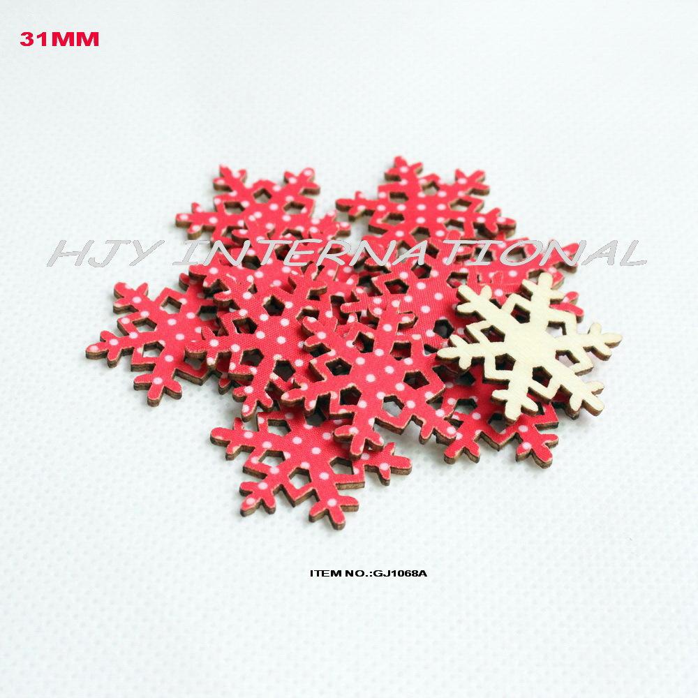 (120pcs/set) Cutouts red polka textile snowflakes wooden back vintage Christmas ornaments bulk supplies -GJ1068A(China (Mainland))