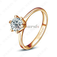 Alliance Gold Wedding Rings For Women Joias Ouro 18K Rose Gold Plated With Austria Crystal Jewelry For Bride Accessories R059R1