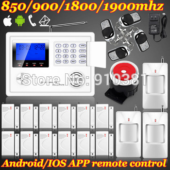 Ios/android app set Wireless GSM PSTN System Home/House/Office Burglar Alarm System Kit + PIR Door Sensor Remote Control Setting