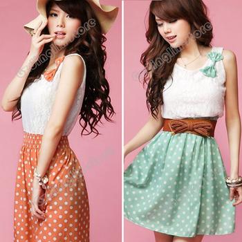 New Fashion Women's Clothing Sweet Lovely Lace Chiffon Polka Dot Casual Sundress Mini Dress Size S M L Free Shipping 0414