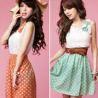 New Fashion Women's Clothing Sweet Lovely Lace Chiffon Polka Dot Casual Sundress Mini Dress Size S M L Free Shipping 0414