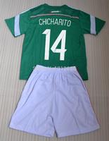 2014 CHICHARITO Home green kids children soccer Jersey kits (shirts + shorts) , CHICHARITO 14 soccer shirts + can custom names