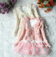 PROMOTION BABY GIRLS DRESS SETS AUTUMN CHILDREN CLOTHING SETS KIDS TUTU DRESS+COAT 2PCS/SET