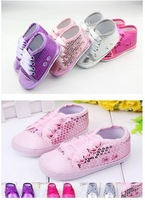 Wholesale baby paillette shoes silver baby shoes toddle shoes first walker hot kids girls sneakers 0-12month shoe 3 pair/lot