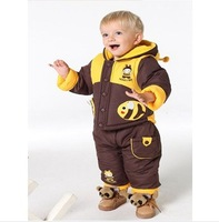 Free shipping Children's clothing bee detachable thickening wadded jacket set children's clothing bee style