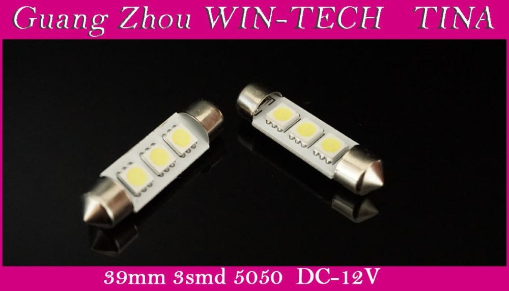 Free Shipping 50pcs/lot 39mm 3SMD 5050 LED Festoon Dome Car Bulb 211 212 12V white Car dome light(China (Mainland))