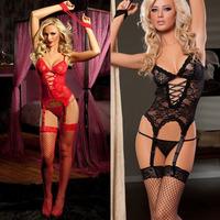 Top Quality Women Sexy Lingerie Black/Red Lace Dress+G string+Handcuff+Garter+Stockings 5Pcs/Set Sleepwear Uniform Costume SW53