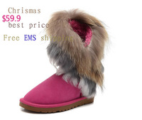 New Winter Fashion Warm Fox+Rabbit Fur Snow Boots Real Leather 5 Colour Tall,Size5-10