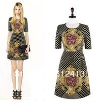 new fashion Europeans style women high quality boutique short-sleeved print flower dress,lady retro slim plus size dress A-316