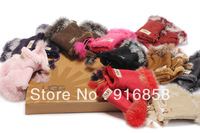 Free shipping rabbit fur fashion half finger gloves  fingerless gloves for fashion girls 10 colors Manufacturers selling