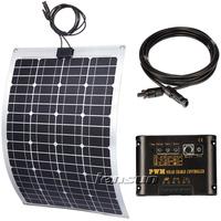 60W Flexible Mono solar panel kit, 10A regulator/controller,5m cable, complete kit,UK STOCK,NO custom tax,WHOLESALE