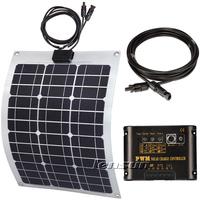 50W Flexible Mono solar panel kit, regulator/controller,cable, complete kit for motorhome,boats,UK STOCK,NO custom tax,WHOLESALE