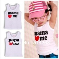 HOT!8 Pcs/1 Lot I Love Baba Mama Baby T-Shirt,Mama Love Me Papa Love Me Baby Vest T-Shirts,White Kids Baby T-Shirt