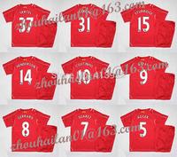 14-15 EPL Liverpool home Children soccer jersey Kids sweatshirt version + Suarez #7 Gerrard #8 Sturridge #15