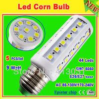 5 pcs/lot E26 E27 screw lampadas led 44 epistar smd 5050 110v/220v corn led light bulb warm / white light