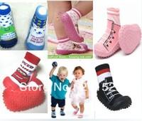 Hot Sale cotton cartoon towel slipper socks prewalker baby shoes infant indoor antislip shoes 5pairs/lot  580015J