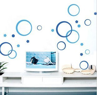 Wholesale Retail Wall Glass Tile Sticker / Wall Sticker Wall Paster/Home Decorative Poster 1 Set=4flower+7bubble(China (Mainland))