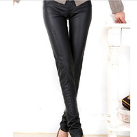 Free shipping Women Fashion Slim Fit PU Leather Pencil Pants Trousers Brown Black New WP14