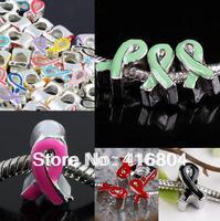 50PCS Enamel 3D Ribbon AWARENESS Charm Beads Finding Fit EP Bracelet