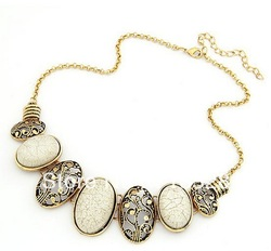 Min order $10(Mix order) Vintage oval parts temperament Necklace free shipping(China (Mainland))