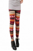 Free Shipping ML7557 Good Qulity Colorful Winter Legging Thick Colorful Women's Elk Snow Cotton sexy leggings