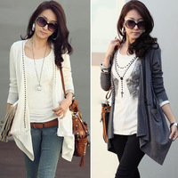 New 2014 Autumn Fashion Women Clothing Cotton Long Sleeve Casual Ladies Tops Cardigan Jacket Coat Sweaters Gray Black White 0010
