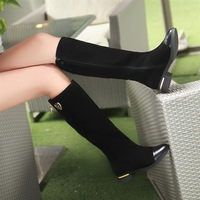 2013 genuine leather knee length boots fashion boots flat boots women shoes black free shipping +gift