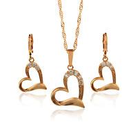 Aliexpress Sale 14K Gold Plated Bridal Jewelry Sets Wedding Jewellery Heart Pendant Necklace Earrings Free Shipping S4-S14K-19