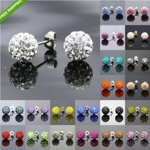 6mm (Samll Szie) Shamballa Beads Earrings(20pieces/10pairs),Bottom Fitting Is 316 Stainless Steel,&Anti allergy&,Free shipping(China (Mainland))