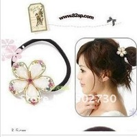 Free shipping minimal Mixed styles $5 Fashion  Hairwear Korean Crystal Baby head band Flower Elastic Hair Bands A5R11