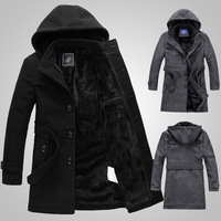 Man spring 2014 winter down coat windbreaker men hoodies casual hooded long trench coat hunting coats&jackets male overcoat D046