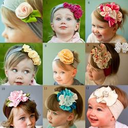 Free shipping 5pcs/lot Cute Baby flower headbands infant cotton hairband/Baby cotton head scarf/Baby headwear/headdress