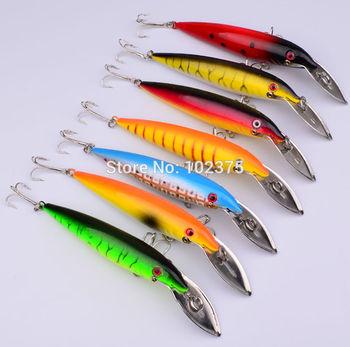 7pc/lot 7 color fishing tackle 14.1cm/16.3g fishing lures plastic bigger fishing baits free shipping
