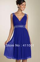 2013 Free Shipping Royal Blue Straps A-Line Knee-length V-Neck Chiffon Bridal Gowns Bridesmaid Dresses XS S M L XL XXL 3XL 4XL