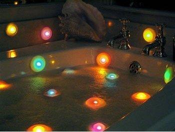 Free shipping 10pcs/lot LED 7 Color Light Bathtub light color changing spa light#M187